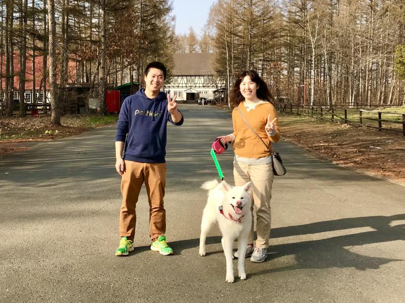 秋田犬とキャンプ